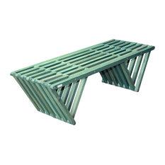 GloDea Wood Garden Bench, X90, Alligator Green, By Ignacio Santos