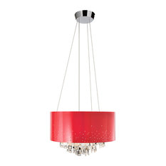 Elan Vallo 7-Light Round Red Shade Chandelier, Chrome