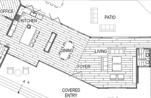 Help Tile Layout Ideas Needed For Large Angled Open Floor Plan