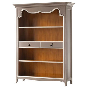 AIX Bookcase With 2 Drawers, Grey and Silver Leaf