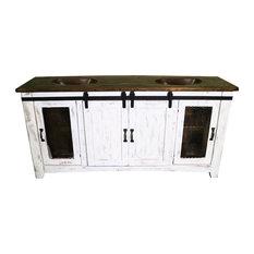 """Anton Barn Door Bathroom Vanity, White, 70"""", Double Sink"""