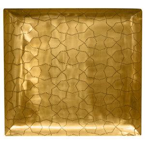 Arabesque Square Serving Tray, Matte Brass