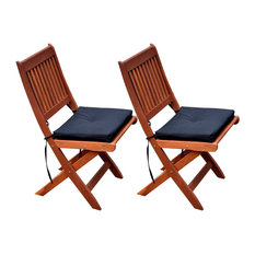 CorLiving Miramar Cinnamon Brown Hardwood Outdoor Folding Chairs, Set of 2