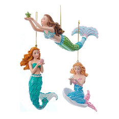 Kurt S. Adler, Inc. - Mermaid Fantasy Blue and Green Mermaids Christmas Holiday Ornaments Set of 3 - Christmas Ornaments