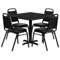 "36"" Square Black Laminate Table Set, 4 Black Trapezoidal Back Banquet Chairs"
