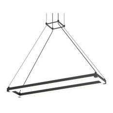 """Stix Rectangle Architectural 30""""x6"""" LED Pendant, Satin Black"""