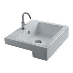 WS Bath Collections   Quad 60S Semi Recessed Bathroom Sink 24 0  x 20 5 Semi Recessed Bathroom Sinks   Houzz. Recessed Bathroom Sinks. Home Design Ideas