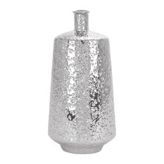 "Decorative Ceramic Spouted Silver Vase, 20""x10"""