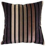 "Pillow Decor Ltd. - Velvet Geometric Pattern Decorative Throw Pillow, Amethyst Stripes, 20""x20"" - The 20 inch square Amethyst Stripes pillows is made from a striped, matte velvet on the front a solid color black velvet on the back. The colors of the stripes include cream, taupe, blush, and light purple."