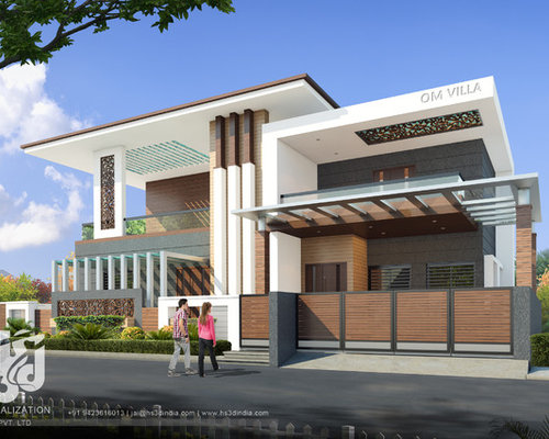 Modern bungalow exterior elevation design day rendering hs Arch design indian home plans