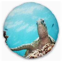"Green Turtle underwater View Animal Throw Pillow, 16"" Round"