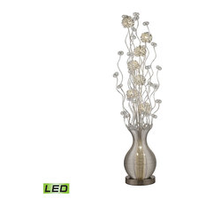 """63"""" Uniontown LED Floral Display Floor Lamp, Silver"""