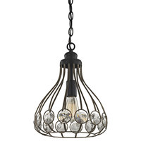 Crystal Web 1-Light Penant, Bronze Gold and Matte Black With Clear Crystal