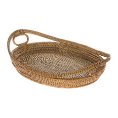 KOUBOO - La Jolla Oval Rattan Tray with Looped Handles, Honey-Brown - Serving Trays