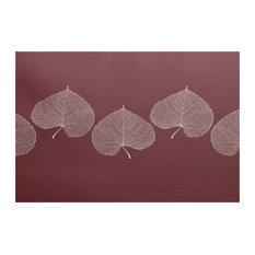 """, Leaf Print 2, Floral Print Indoor/Outdoor Rug, Navy Blue, 2"""" x 3-ft"""