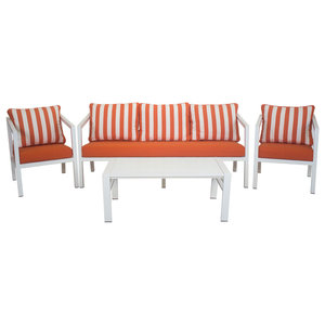 Outdoor 4-Piece Acapulco Furniture Set With 3-Seater Sofa, White