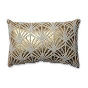 Glamour Flock Gold-White Rectangular Throw Pillow