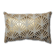 Glamour Flock Gold-White Rectangular Throw Pillow