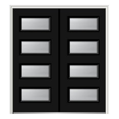 """Frosted 4-Lite Fiberglass Smooth Double Door 66""""x81.75"""" Right Hand In-swing"""