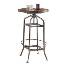 Adjustable Height Metal And Wood Bar Table