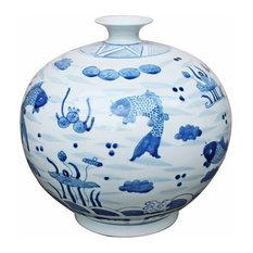 Blue and White Fish Porcelain Pomegranate Vase