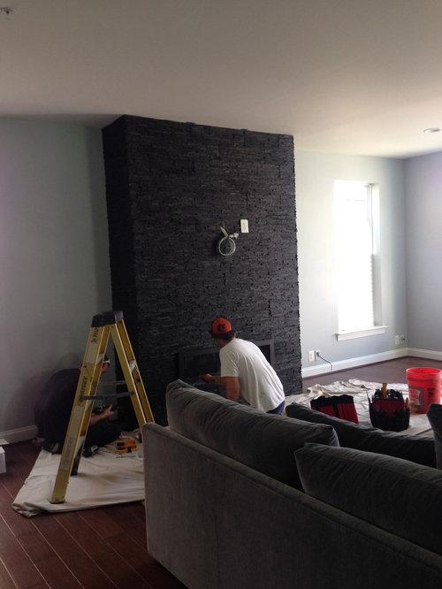 Ugly Black Stone Fireplace