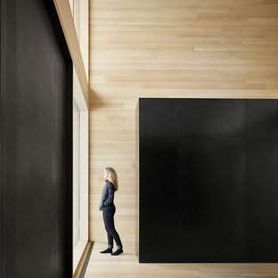 Foto de entrada madera, moderna, con suelo de madera clara, puerta pivotante, puerta negra y madera