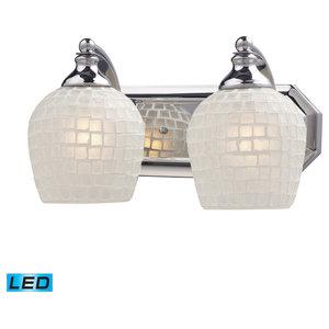 Elk 570-2C-WHT-LED 2 Light Vanity Light, Polished Chrome and White Mosaic Glass