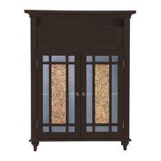 Wooden Bathroom Floor Cabinet Glass Doors