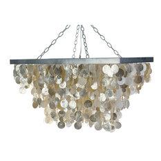 KOUBOO - Rectangular Capiz Seashell Pendant, Champagne Pendant Lighting  T