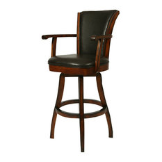 Pastel Furniture Pastel Glenwood Swivel Barstool with Arms Russet Cordovan Brown