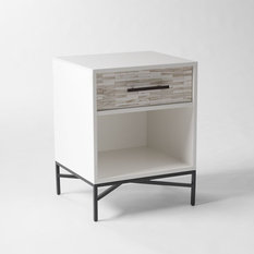 - Wood Tiled Bedside Table - Nightstands and Bedside Tables