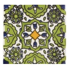 "Mediterranean Oasis Verde Ceramic Tile, 4.25""x4.25"""