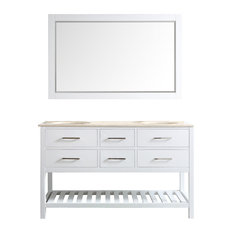 "Foligno Vanity, Base: White, 60"", Top: Crema Marfil, With Mirror"