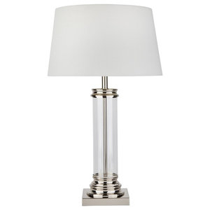 Glass Column Table Lamp, Satin Silver Base Cream Shade