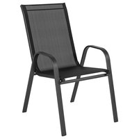 Flash Brazos Series Outdoor Stack Chair with Flex Comfort Material, Black