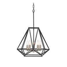5-Light Matte Black and Brushed Nickel Geometric Cage Lantern Farmhouse