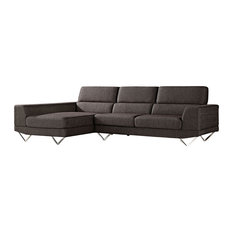 Zuri Furniture - Charcoal Gray Fabric Sectional, Left Chaise - Sectional Sofas