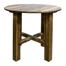 Montana Log Collection Wood Bistro Table In Stain And Lacquer MWGCBT36