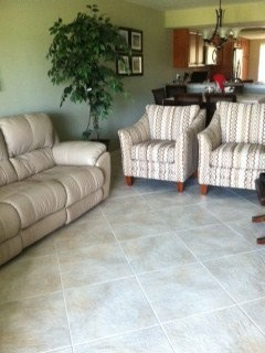 We Have Leather Sofa, Leather Recliner And Fabric Side Chairs. This Is In  Florida. When It Is Warm We Have On The AC So Never Had A Problem