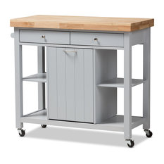 Baxton Studio   Hayward Coastal And Farmhouse Light Gray Wood Kitchen Cart    Kitchen Islands And