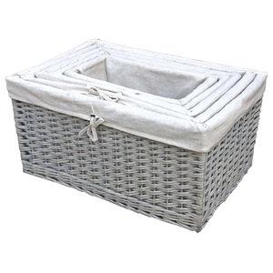 Sussex Lined Wicker Storage Baskets, Set of 5