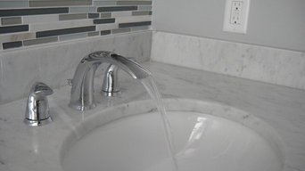 Grey Bathroom with Mosaic tile and Marble