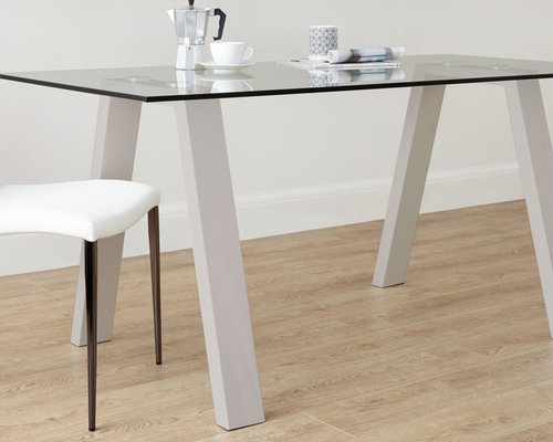 Zen 6 Seater Glass And Grey Gloss Dining Table   Dining Tables