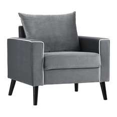 Sofamania - Mid-Century Modern Velvet Fabric Armchair Living Room Accent Chair, Dark Gray - Armchairs and Accent Chairs