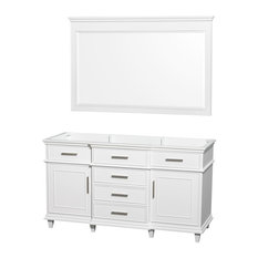 "Berkeley 60"" Double Vanity Vanity Base Only, White, 56"" Mirror"