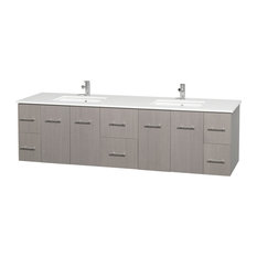 """Centra 80"""" Double Vanity, Square Sinks, Gray Oak, Top White Man-Made Stone"""