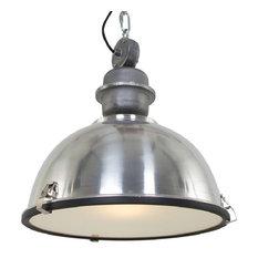 Large Industrial Warehouse Pendant Light, Brushed Aluminum