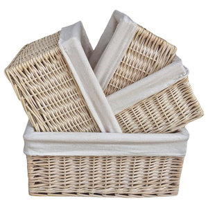White Lined Storage Wicker Baskets , Set of 4