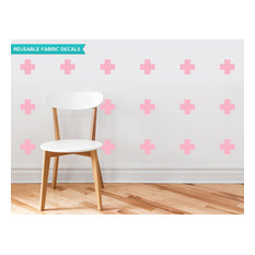 Plus Sign Fabric Wall Decals, Set of 18, Pink
